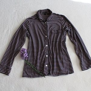 J.Crew Black Label Pink Navy Blue Striped PJ Top